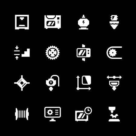 additive: Set icons of 3D printing isolated on black