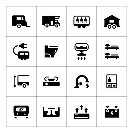 rv: Set icons of camper, caravan, trailer isolated on white