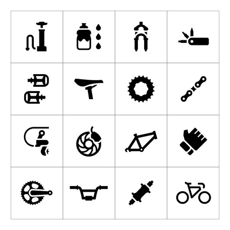 Set icons of bicycle parts and accessories isolated on white Vectores