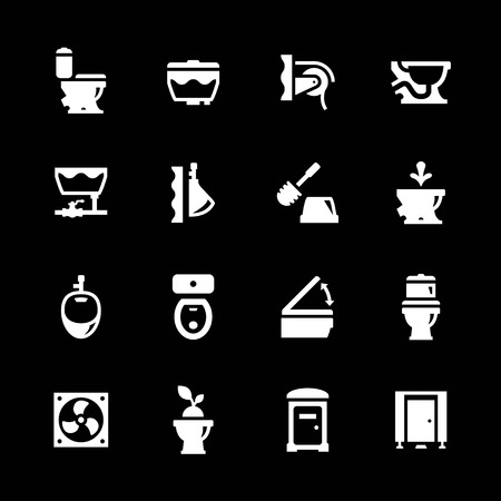 Set icons of toilet isolated on black Vector