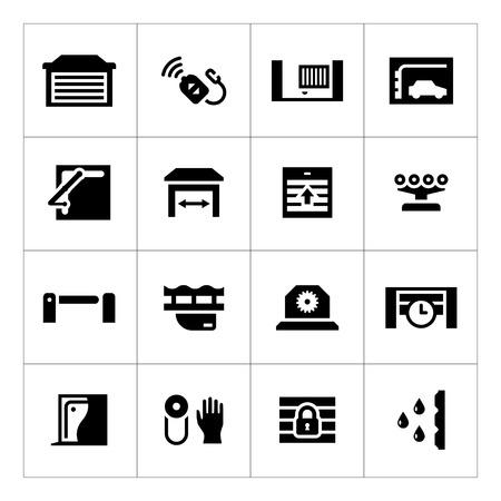 Set icons of automatic gates isolated on white 일러스트