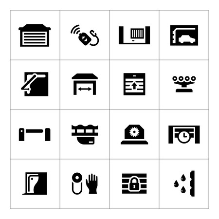 Set iconen van automatische poorten op wit wordt geïsoleerd Stock Illustratie