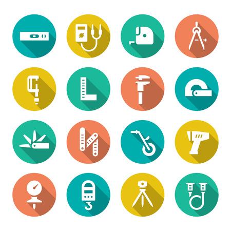 cinta metrica: Establecer los iconos planos de herramientas de medici�n aislados en blanco