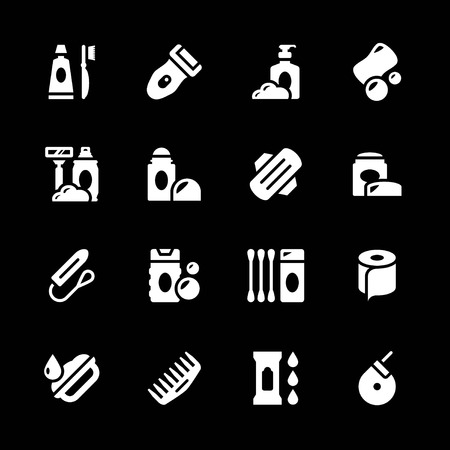 tampon: Set icons of hygiene isolated on black Illustration