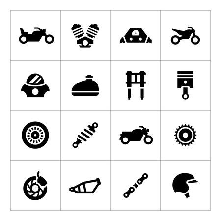 Set icons of motorcycle isolated on white