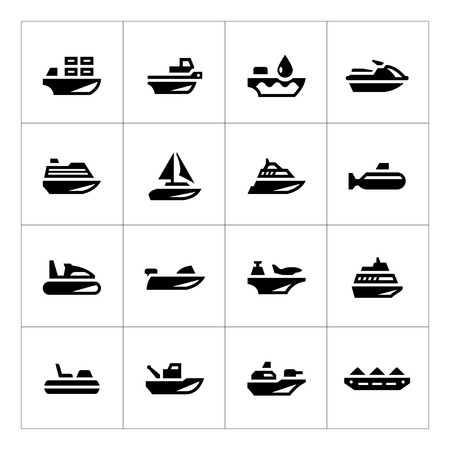 fishing industry: Set icons of water transport isolated on white