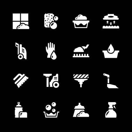 Set iconen van reiniging geïsoleerd op zwart