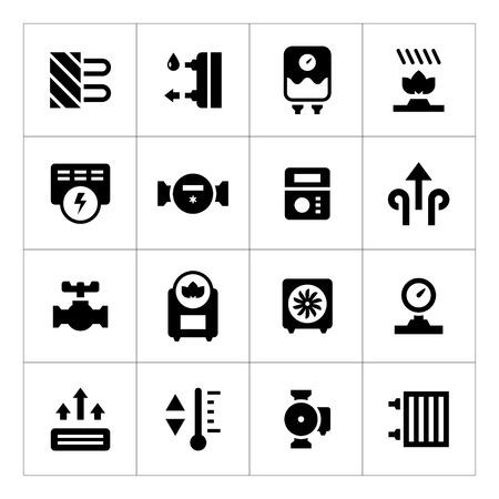 Set icons of heating isolated on white Illustration
