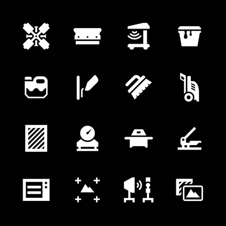 silk screen: Set icons of screen printing isolated on black