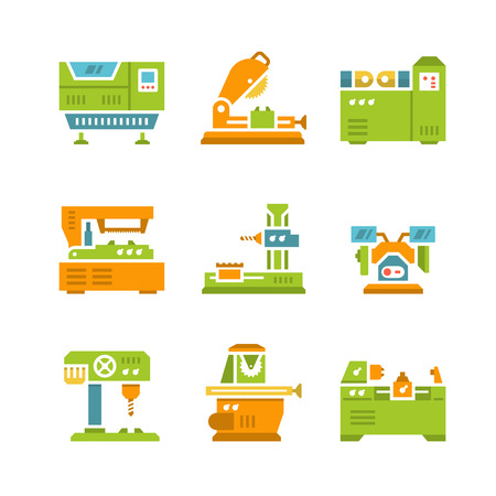 Establecer los iconos planos de la máquina-herramienta aisladas en blanco
