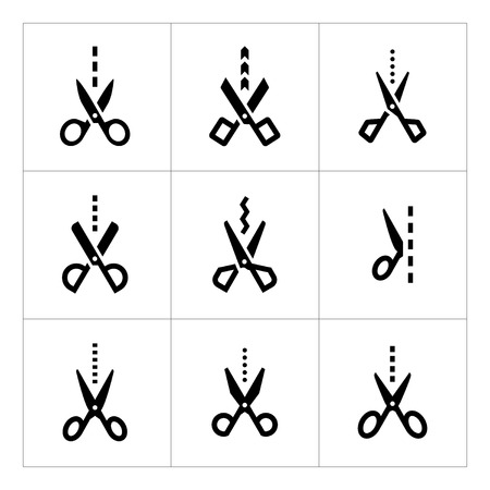 Set icons of scissors with cut line isolated on white Vector