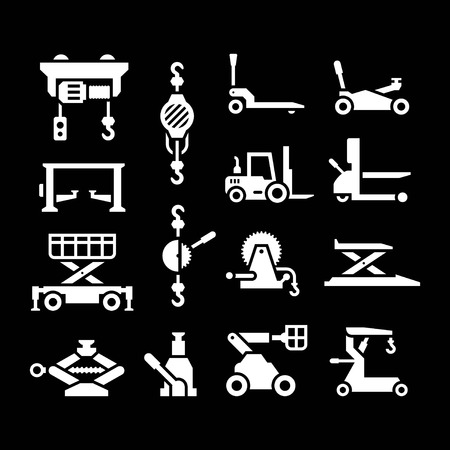 car hoist: Set icons of lifting equipment isolated on black