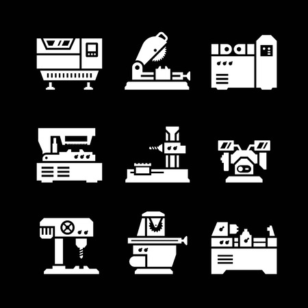 lathe: Set icons of machine tool isolated on black Illustration