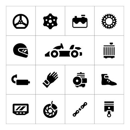 Set iconen van karting op wit wordt geïsoleerd