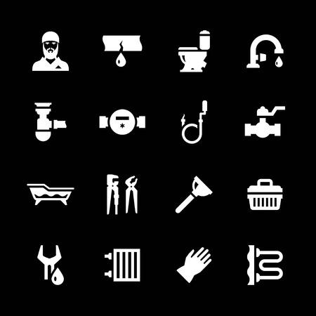 plumbing accessories: Set icons of plumbing isolated on black