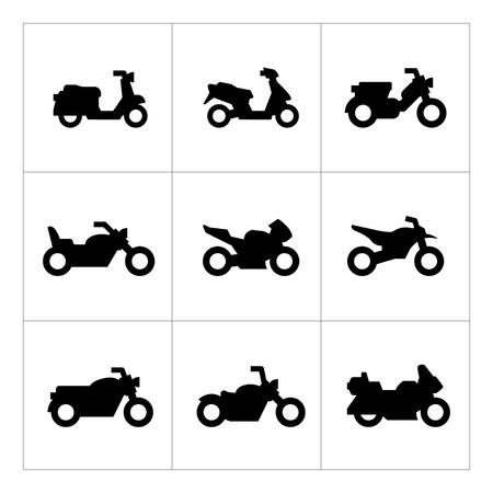 Set iconen van motorfietsen op wit wordt geïsoleerd