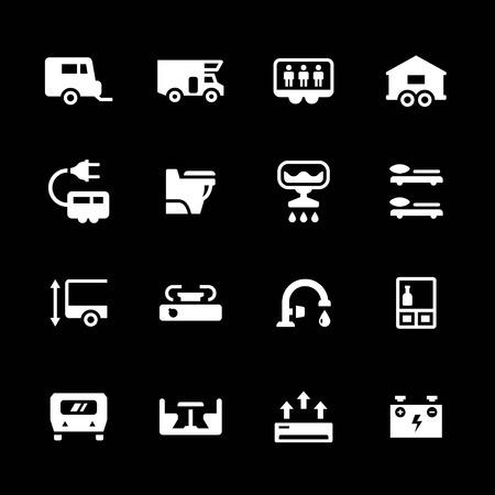 Set icons of camper, caravan, trailer isolated on black Illustration