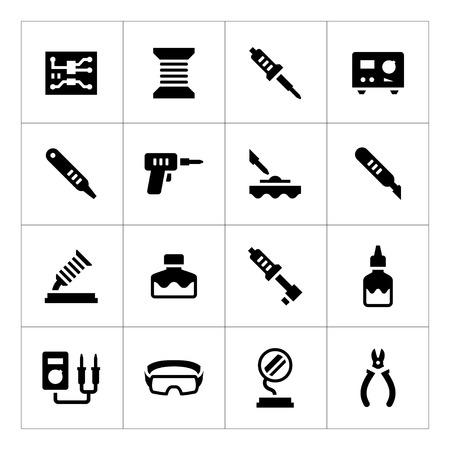 Set iconen van het solderen op wit wordt geïsoleerd