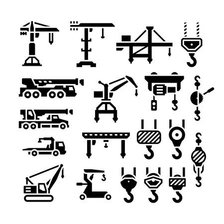 Set iconen van de kraan, liften, lieren en haken geïsoleerd op wit