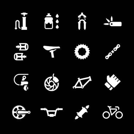 component parts: Set icons of bicycle parts and accessories isolated on black