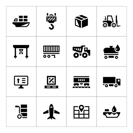 Set iconen van de logistiek op wit wordt geïsoleerd Stock Illustratie