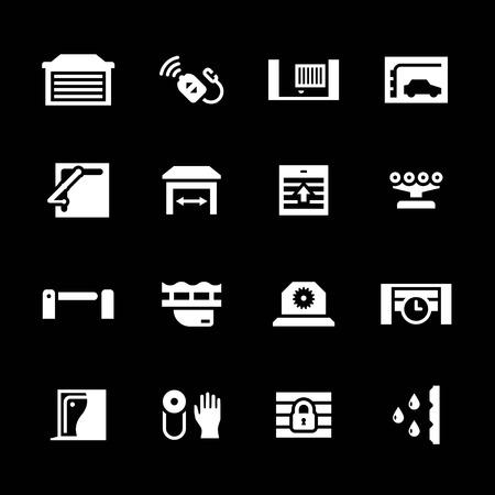 Set icons of automatic gates isolated on black