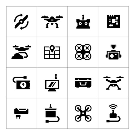 drone: Set icons of quadrocopter, hexacopter, multicopter and drone isolated on white