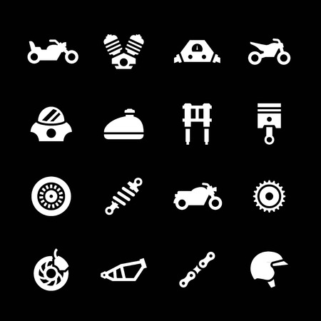 Set icons of motorcycle isolated on black Иллюстрация