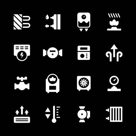 gas radiator: Set icons of heating isolated on black