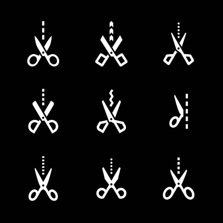 Set icons of scissors with cut line isolated on black Vector