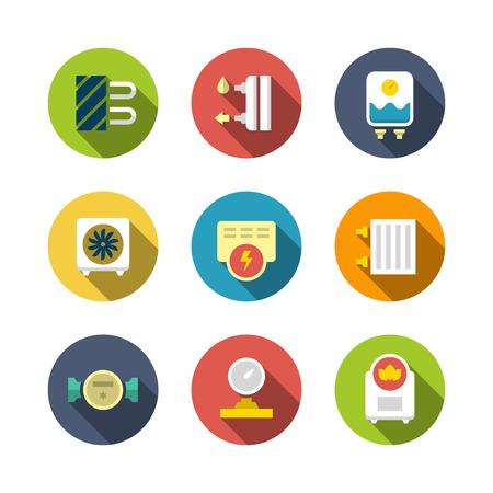 bomba de agua: Establecer los iconos planos de calefacción aislados en blanco Vectores