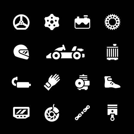 sports race: Set icons of karting isolated on black
