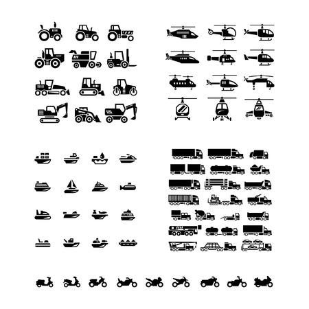 Fije los iconos de transporte. Tractores, helicópteros, transporte de agua, camiones y motocicletas aislados en blanco