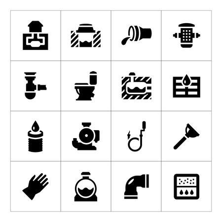 Set iconen van riolering op wit wordt geïsoleerd Stock Illustratie