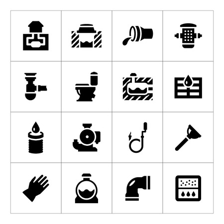 Set icons of sewerage isolated on white