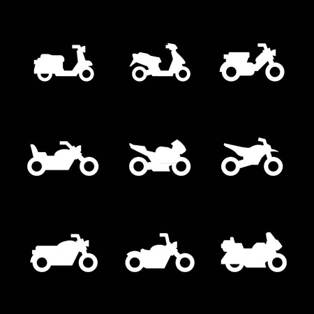 moped: Set icons of motorcycles isolated on black