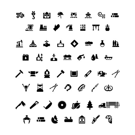 forge: Set icons of industry. Metallurgical, oil, forge and sawmill icons isolated on white