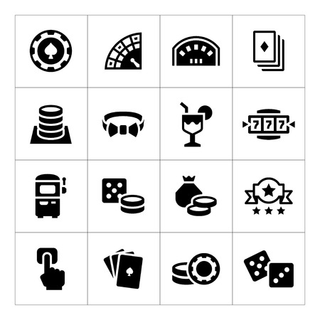 Set icons of casino isolated on white Illustration