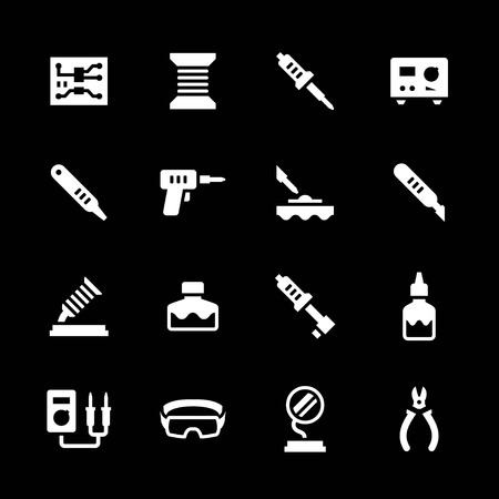 microchip: Set icons of soldering isolated on black Illustration