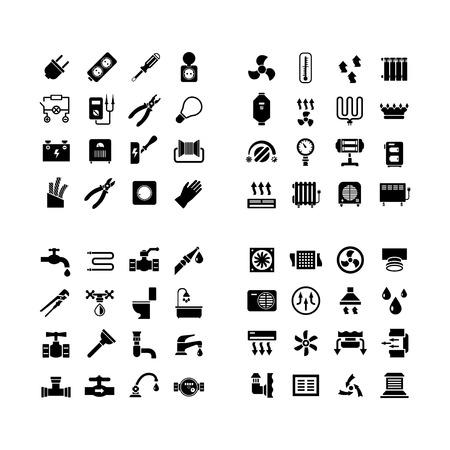 fontaneria: Iconos del sistema C�mara. Fije los iconos de electricidad, calefacci�n, fontaner�a, ventilaci�n aislados en blanco
