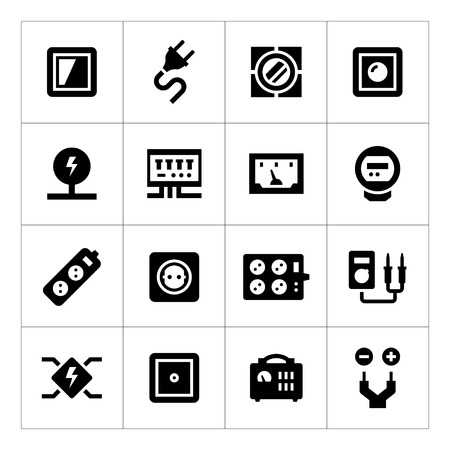 electrician: Set icons of electricity isolated on white