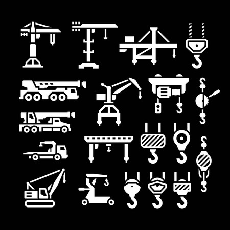 Set icons of crane, lifts, winches and hooks isolated on black