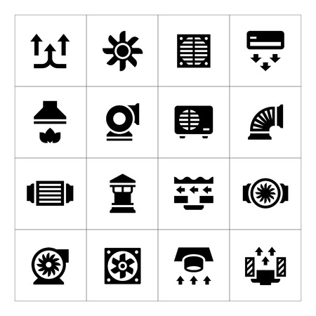 hot air: Set icons of ventilation and conditioning isolated on white
