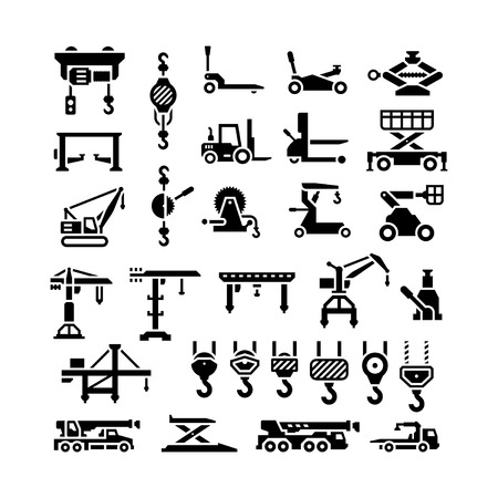 hydraulic: Set icons of lifting equipments, cranes, winches and hooks isolated on white Illustration