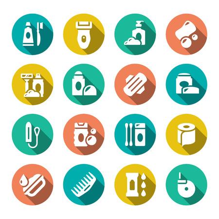 aseo personal: Establecer iconos planos de higiene aislados en blanco
