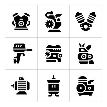 Set iconen van de motor en de motor op wit wordt geïsoleerd