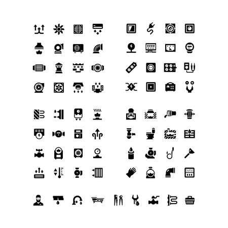 Haus System-Icons. Stellen Sie Ikonen der Lüftung, Strom, Heizung, Kanalisation, Sanitär, isoliert auf weiss