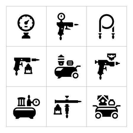 Set icons of compressor and accessories isolated on white