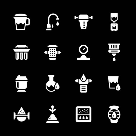 filtration: Set icons of water filters isolated on black