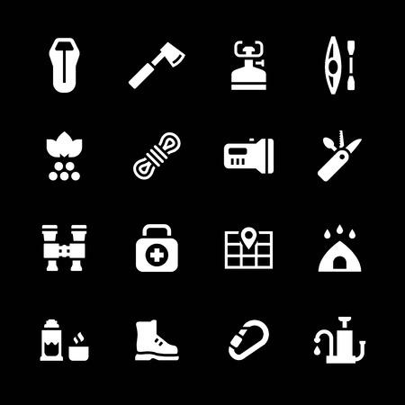 travel burner: Set icons of camping isolated on black